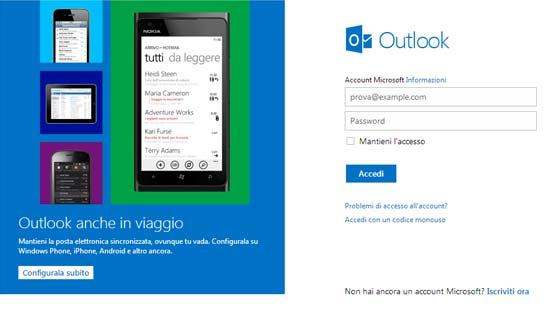 outlook live posta elettronica